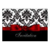 red ribbon damask wedding Invitations