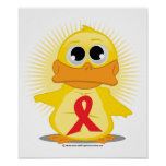 Red Ribbon Duck Poster