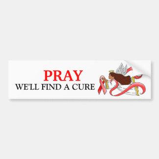 """Red Ribbon""  Ethnic Awareness Angel Bumper Sticker"