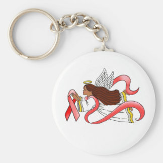 """Red Ribbon""  Ethnic Awareness Angel Keychain"