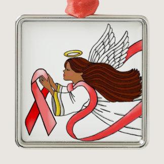 """Red Ribbon"" Ethnic Awareness Angel Metal Ornament"