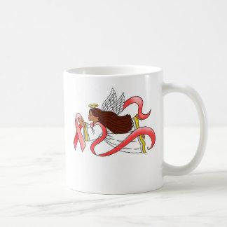 """Red Ribbon""  Ethnic Awareness Angel Classic White Coffee Mug"