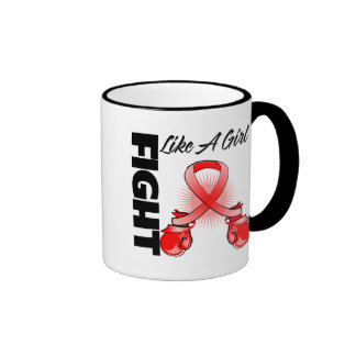 Red Ribbon Fight Like A Girl Coffee Mugs