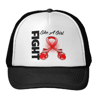 Red Ribbon Fight Like A Girl Mesh Hat