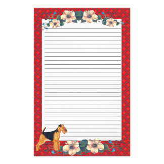 Red Ribbon Floral Lined Stationery