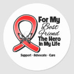 Red Ribbon For My Hero My Best Friend Round Stickers
