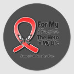 Red Ribbon For My Hero My Brother Round Sticker