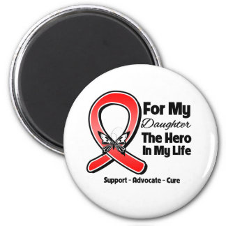 Red Ribbon For My Hero My Daughter Fridge Magnets
