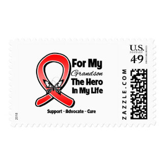 Red Ribbon For My Hero My Grandson Stamp