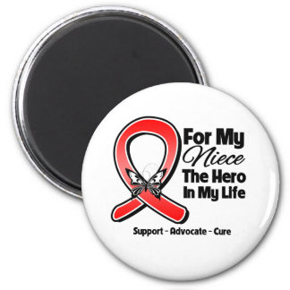 Red Ribbon For My Hero My Niece Fridge Magnet