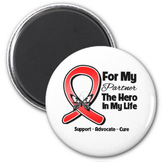 Red Ribbon For My Hero My Partner Refrigerator Magnets