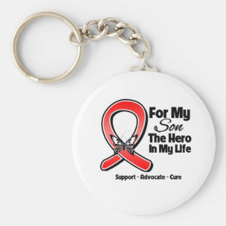 Red Ribbon For My Hero My Son Key Chain