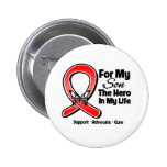 Red Ribbon For My Hero My Son Pinback Buttons