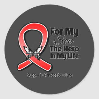 Red Ribbon For My Hero My Son Round Stickers