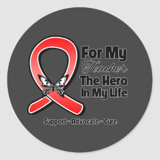 Red Ribbon For My Hero My Teacher Stickers