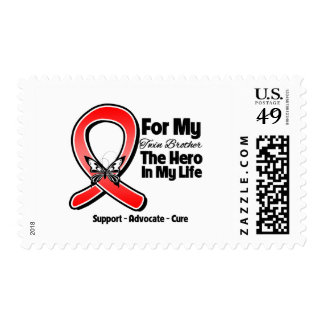 Red Ribbon For My Hero My Twin Brother Postage Stamp