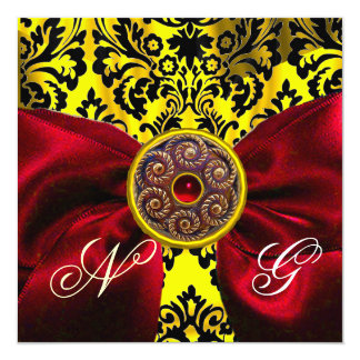 RED RIBBON GOLD YELLOW  BLACK  DAMASK MONOGRAM CARD