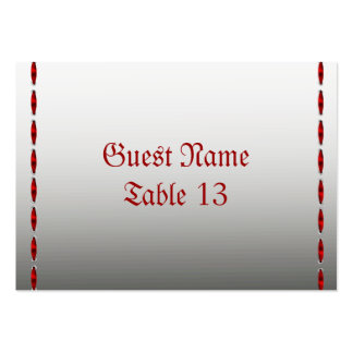 Red Ribbon Gothic Wedding Table card Business Card Templates