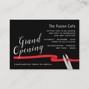 Red Ribbon Grand Opening Ceremony Enclosure Card