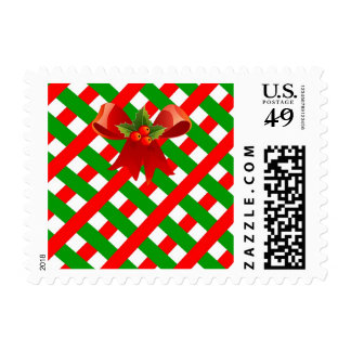 Red Ribbon Green Christmas Grid Stamp