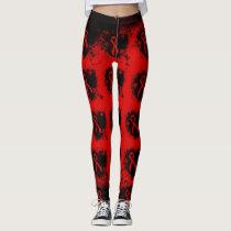 Red Ribbon Grunge Heart Leggings