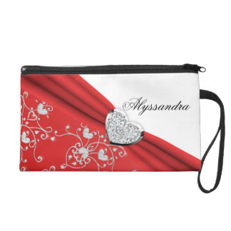 Red Ribbon Heart Diamond Damask Wristlet Bag