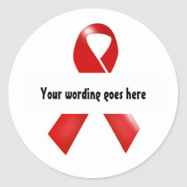 Red ribbon HIV Aids awareness | Personalize Classic Round Sticker