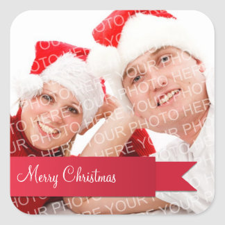 Red ribbon holiday photo christmas gift tag label square sticker
