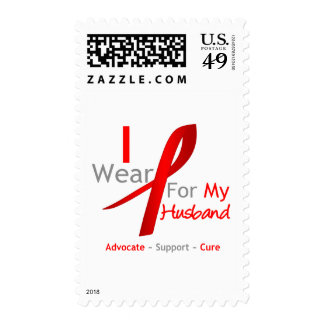 Red Ribbon I Wear For My Husband Postage Stamp