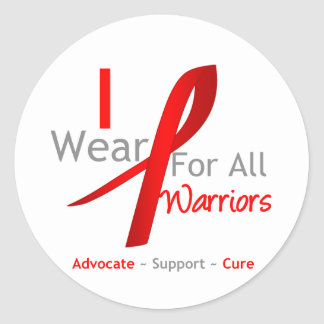 Red Ribbon I Wear Red For All Warriors Classic Round Sticker