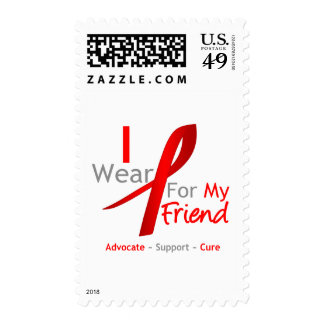 Red Ribbon I Wear Red For My Friend Postage Stamp