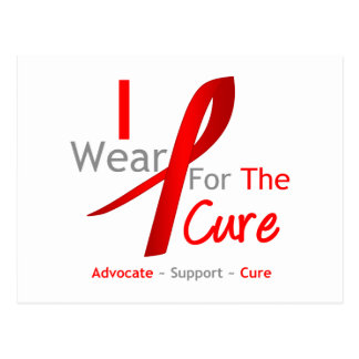 Red Ribbon I Wear Red For The Cure Postcard