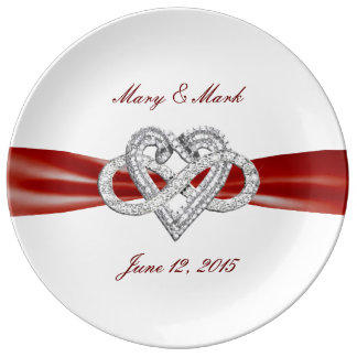 """Red Ribbon Infinity Heart 10.75"""" Porcelain Plate"""