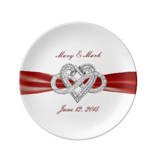 """Red Ribbon Infinity Heart 8.5"""" Porcelain Plate"""