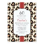 """Red Ribbon Leopard Print 60th Birthday Invitations 5"""" X 7"""" Invitation Card"""
