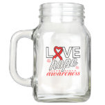 Red Ribbon Love Hope Awareness Mason Jar