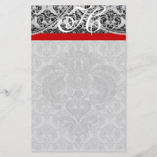 REd Ribbon Monogram Letterhead Black Paisley