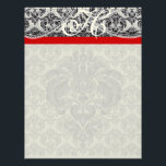 "REd Ribbon Monogram Letterhead Black Paisley<br><div class=""desc"">Brown &amp; Creme  Monogram Stationery  - You Choose Paper Color from endless colors just enter your rgb hex code for your custom color.</div>"