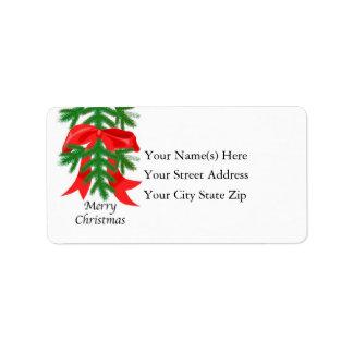 Red Ribbon on Pine Bough Address Label