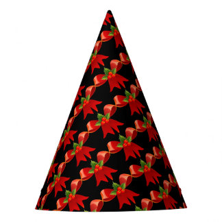 red ribbon party hat