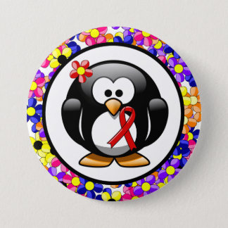 Red Ribbon Penguin Pinback Button