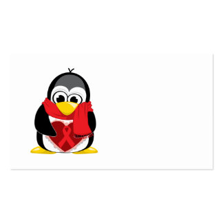 Red Ribbon Penguin Scarf Business Card