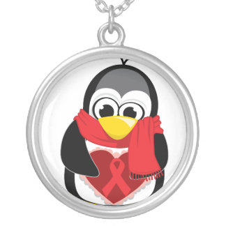 Red Ribbon Penguin Scarf Silver Plated Necklace
