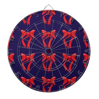 red ribbon purple background dartboard with darts