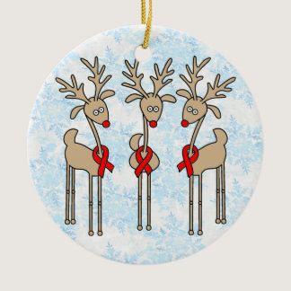 Red Ribbon Reindeer - AIDS & HIV Ceramic Ornament