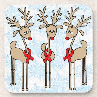 Red Ribbon Reindeer - AIDS & HIV Drink Coaster