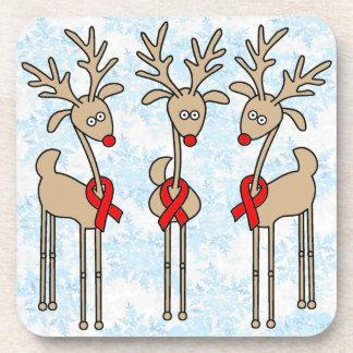 Red Ribbon Reindeer - AIDS & HIV Drink Coaster