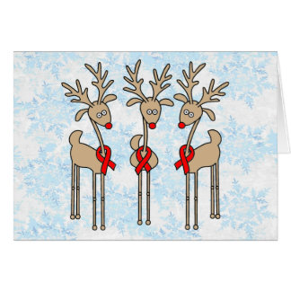 Red Ribbon Reindeer - AIDS & HIV Greeting Card
