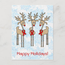 Red Ribbon Reindeer - AIDS & HIV Holiday Postcard