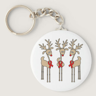 Red Ribbon Reindeer - AIDS & HIV Keychain